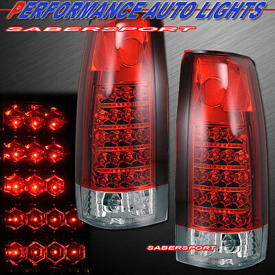 Set of Red Clear LED Taillights for 88-99 GM C/K 1500 2500 3500 Yukon Suburban