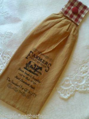 "Farmers Feed COW Primitive Country Kitchen Towel 19"" Long, RED / CREAM Check Top"