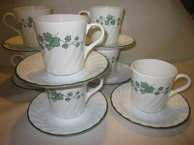 7 SETS COFFEE MUGS/CUPS & SAUCERS CALLAWAY GREEN IVY SWIRL CORELLE CORNING USA