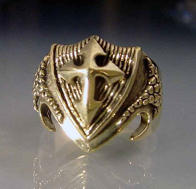 Bronze Dragon Shield Ring Size 8 Medieval Talisman Crest Coat of Arms R-24b-51