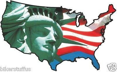 Usa Statue Liberty Sticker United States Map Flag Bumper Sticker