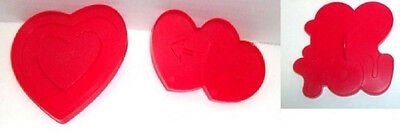 Set of 3 1990 Wilton Red Plastic VALENTINE Themed Love Cookie Cutters