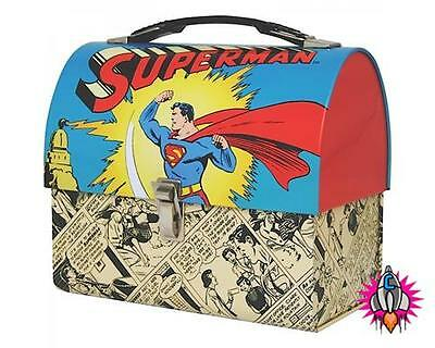 Official Dc Comics Superman Comic Strip Domed Lunch Tin Tote Box New