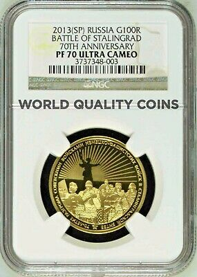 2013 Russia Gold 100 Roubles 70th Anniversary Battle of Stalingrad NGC PF70 Rare