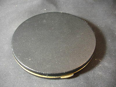 Old Vtg Zell Gold Tone Black Large Compact 24Kt Gold Plated Makeup
