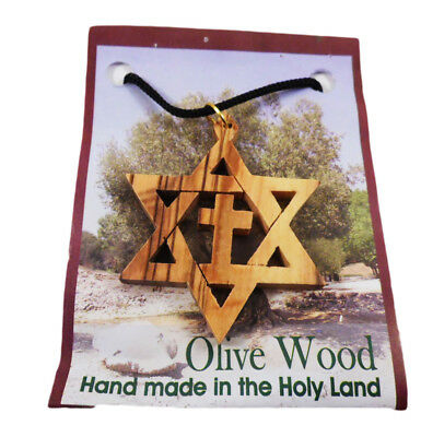 Olive wood Jewish star of David with cross messianic pendant necklace ISRAEL