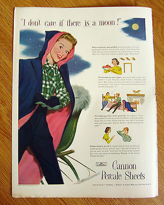 1948 Cannon Percale Sheets Ad I Don't Care if there is a Moon
