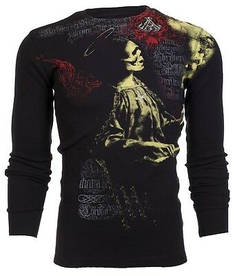 Archaic AFFLICTION Mens THERMAL T-Shirt LULLABY Skull Tattoo Biker UFC M-3XL $58