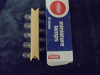 (10) Vintage Eveready Miniature Lamps Bulbs 1847 6.3 Volts