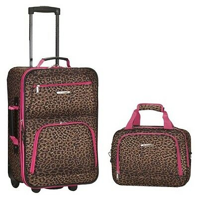 Rockland Rio 2-pc. Carry-On Luggage Set - Pink Leopard