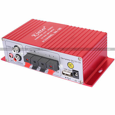 12V HiFi 2CH Mini Audio Stereo Power Amplifier For Car Boat + USB Port Charge