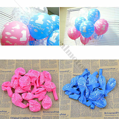 Baby 1st First Birthday Party Decor Girl Boy Printed  Number 1 Ballons 20PCS