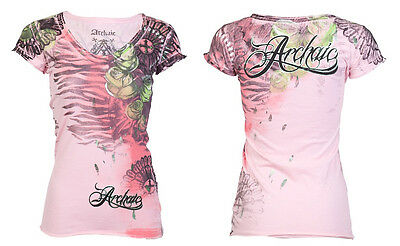 Archaic AFFLICTION Womens T-Shirt LOVE Roses Tattoo Biker Sinful S-XL $40 b