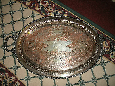 Antique Gotham Silver On Copper Large Serving Tray Platter W/Handles-742P-Etched