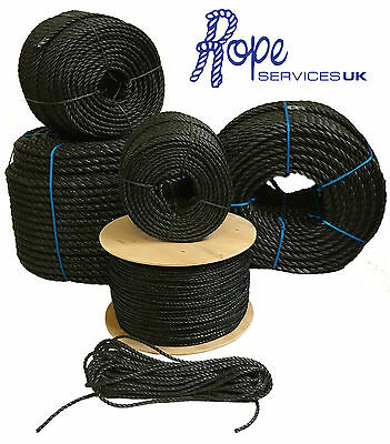 Black Poly Rope Coils, Polyrope, Polypropylene, Agriculture, Camping, Tarpaulins