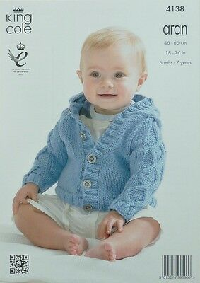 KNITTING PATTERN Baby Hooded Jacket with Cable Sleeves Aran King Cole 4138