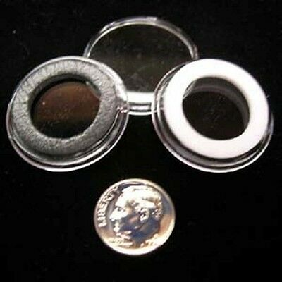 5 AIRTITE COIN HOLDER CAPSULE BLACK RING 18 MM DIME / 10 CENTS