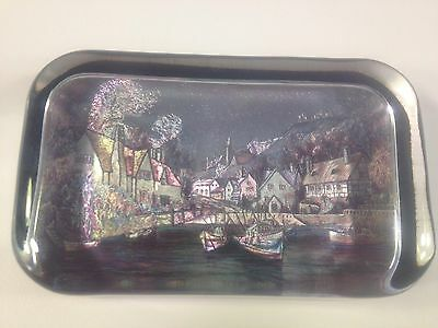 Vintage Glass Enesco Paper weight Fishing Boats-Village Water Made In England