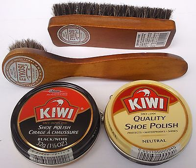 KIWI BLACK NEUTRAL SHOE POLISH CREAM, SHINE BRUSH  & DAUBER KIT , SELECT: Items
