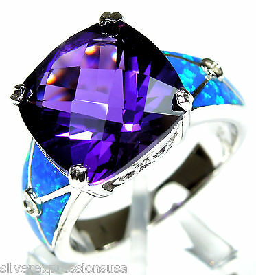 Huge Amethyst and Blue Fire Opal Inlay Solid 925 Sterling Silver Ring 6,7,8,9,10