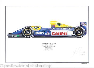 Nigel Mansell 1992 Williams FW14b ltd ed.print signed/numbered by artist
