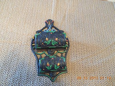 Vintage Wilton  Wall Mount Hand Painted Cast Iron Double Match Holder