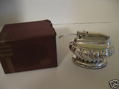 Vintage Ronson Crown Desk or Table Lighter Silver Plated w/ Box