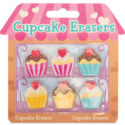 6 Cute Cupcake Erasers Rubbers Novelty Stationery Gift Party Bag Stocking Filler