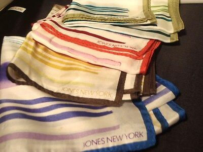 """LOT of 4 JONES NEW YORK SCARVES Red Yellow Blue Green Striped 10"""" x 54"""" Long"""