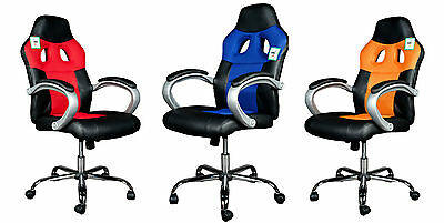 Sport Car Seat Style Computer Office Chair in PU Leather and Mesh. #8015