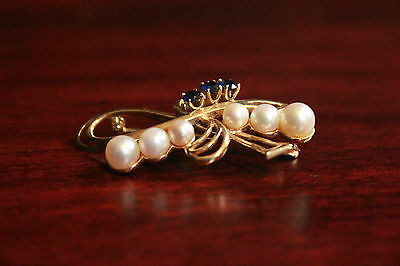 *WOW* Vintage Esemco 14K Gold Cancer Bow Brooch Natural Pearls & Blue Sapphires