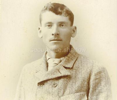 CABINET CARD PHOTO: HANDSOME YOUNG MAN in TWEED JACKET, Athol, MASS ID'd