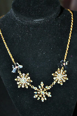 Betsey Johnson  Snow Angel Snowflake Necklace and Charm Bracelet!! Very Rare!HTF
