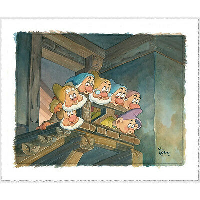 """""""Top of the Stairs"""" LE Hand Deckled Giclee on Paper by Bluth Disney Framed"""
