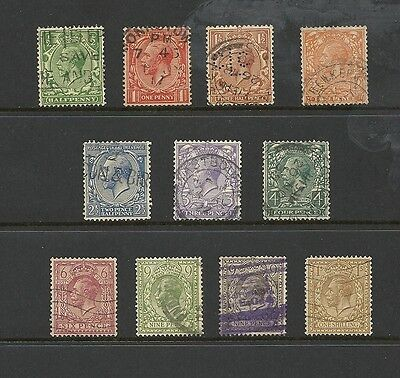1912 King George V SG418 - SG395 Short Set to 1/- used GREAT BRITAIN