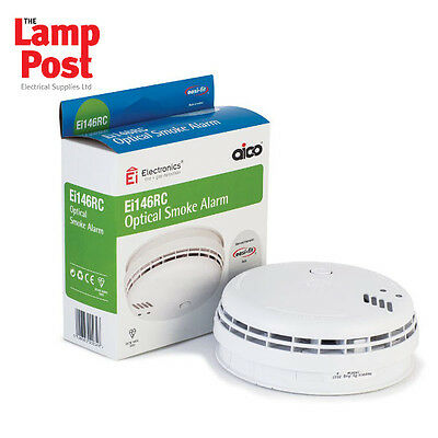 Ei146 / Ei146RC -  Mains OPTICAL Smoke Alarm Detector + Battery  **FREE P&P**