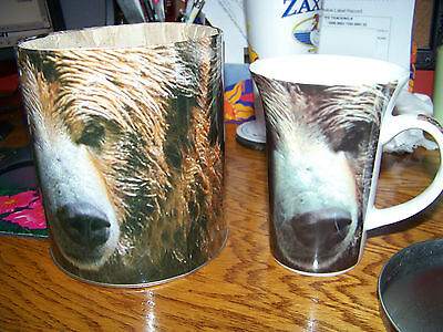 PaCardew® Wild Life Cafe Collection Grizzly Bear Coffee Mug, Coaster & Stamp