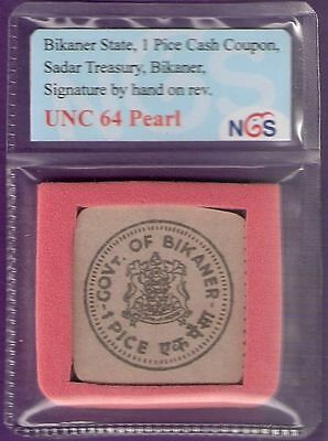 VERY RARE INDIA BIKANER STATE 1 (ONE) PICE CASH COUPON UNC FREE SHIPPING # A