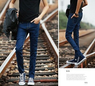 Korean Style Men's Fashion Slim Fit Skinny Jeans Flexible Casual Trousers 28--34