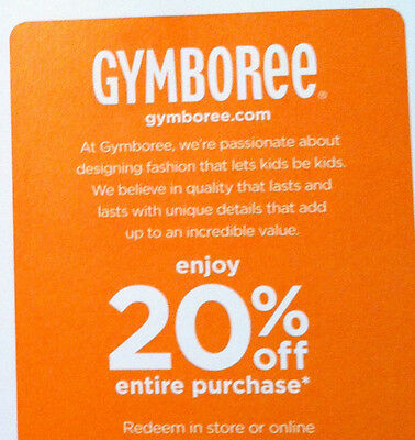 GYMBOREE coupon ~SAVE 20% entire purchase online or in store  exp.May 13.2015