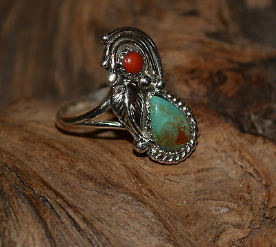 Ring Turquoise & Coral Leaf Design Tear Drop By Navajo Artist Ida McCray Sz 8