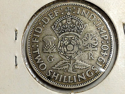 1940 Great Britain One Florin Better Grade Silver Coin