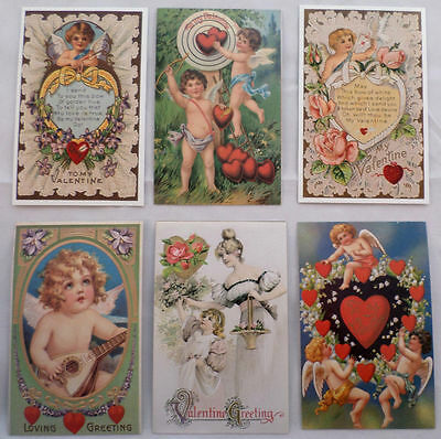 Victorian Turn Of The Century Valentine Post Card Assortment Of 6 Lot #Pca
