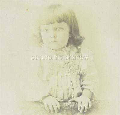 CABINET CARD PHOTO: LOVELY LITTLE GIRL w BANGS & BIG EYES, Westbrook, MAINE