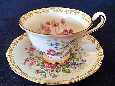 Royal Albert Nosegay Bone China Footed Teacup & Saucer Set. England. Circa 1935