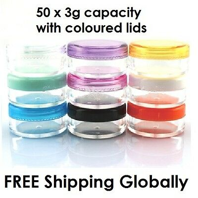 50 x 3g Small Cosmetic Sample Craft Plastic Container Jar Pot Coloured lid