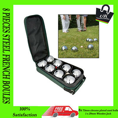 New 8 Pc Steel French Boules Set Petanque Balls Outdoor Garden Game Free Case