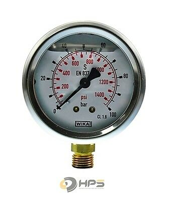 "Wika Glyzerin Manometer 0-100 bar 1/4"" AG UA Ø63mm"