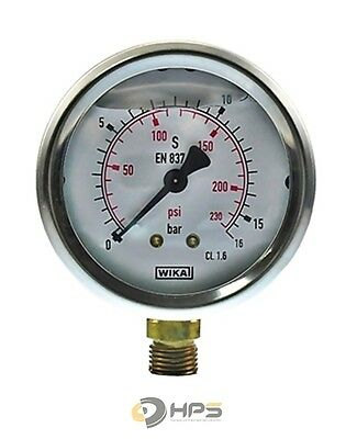 "Wika Glyzerin Manometer 0-16 bar 1/4"" AG UA Ø63mm"