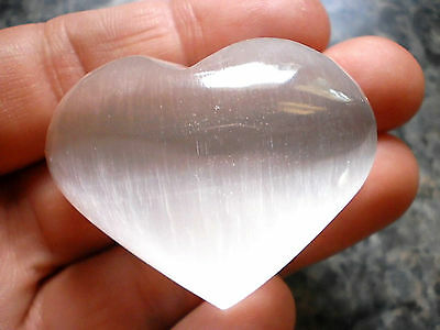 1 Small Natural White Selenite Palm Stone Puffy Heart Wicca Pagan Witch